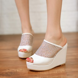 Simple White Peep Toe Mesh Wedge Sandals