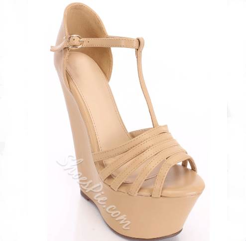 Shoespie Dramatic Cut-Outs PU Ankle Strap Wedge Sandals