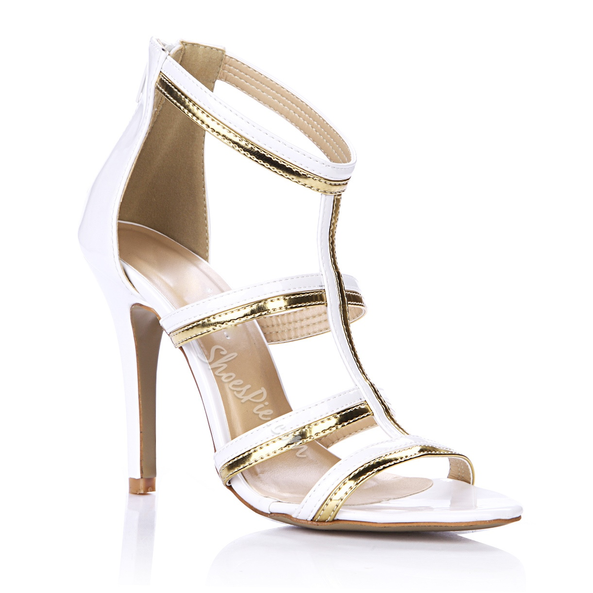 Graceful Two-Tone Golden Strap Hollow Stiletto Heel Dress Sandals