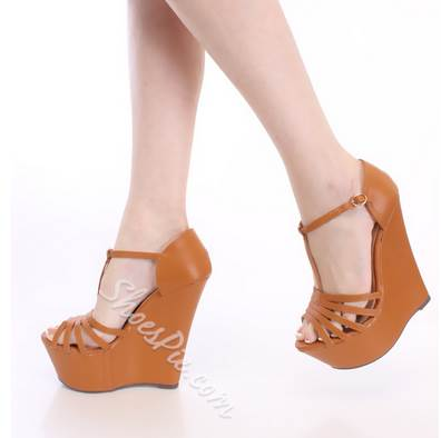 Dramatic Cut-Outs PU Ankle Strap Wedge Sandals