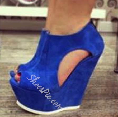 Awesome Contrast Color Suede Cut-Outs Wedge Sandals