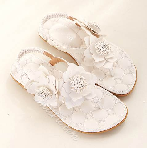Sweet Flower PU Flat Sandals