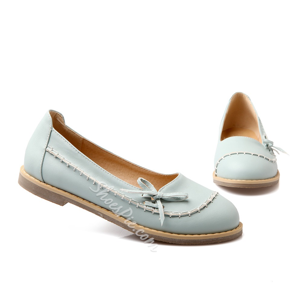 Concise Sweet Bowtie PU Comfort Flats
