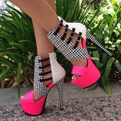 Alluring Contrast Color PU Cut-Outs Dress Sandals