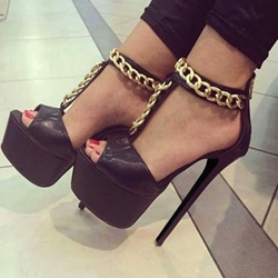 Fabulous Simple Metal Ankle Strap Stiletto Heels