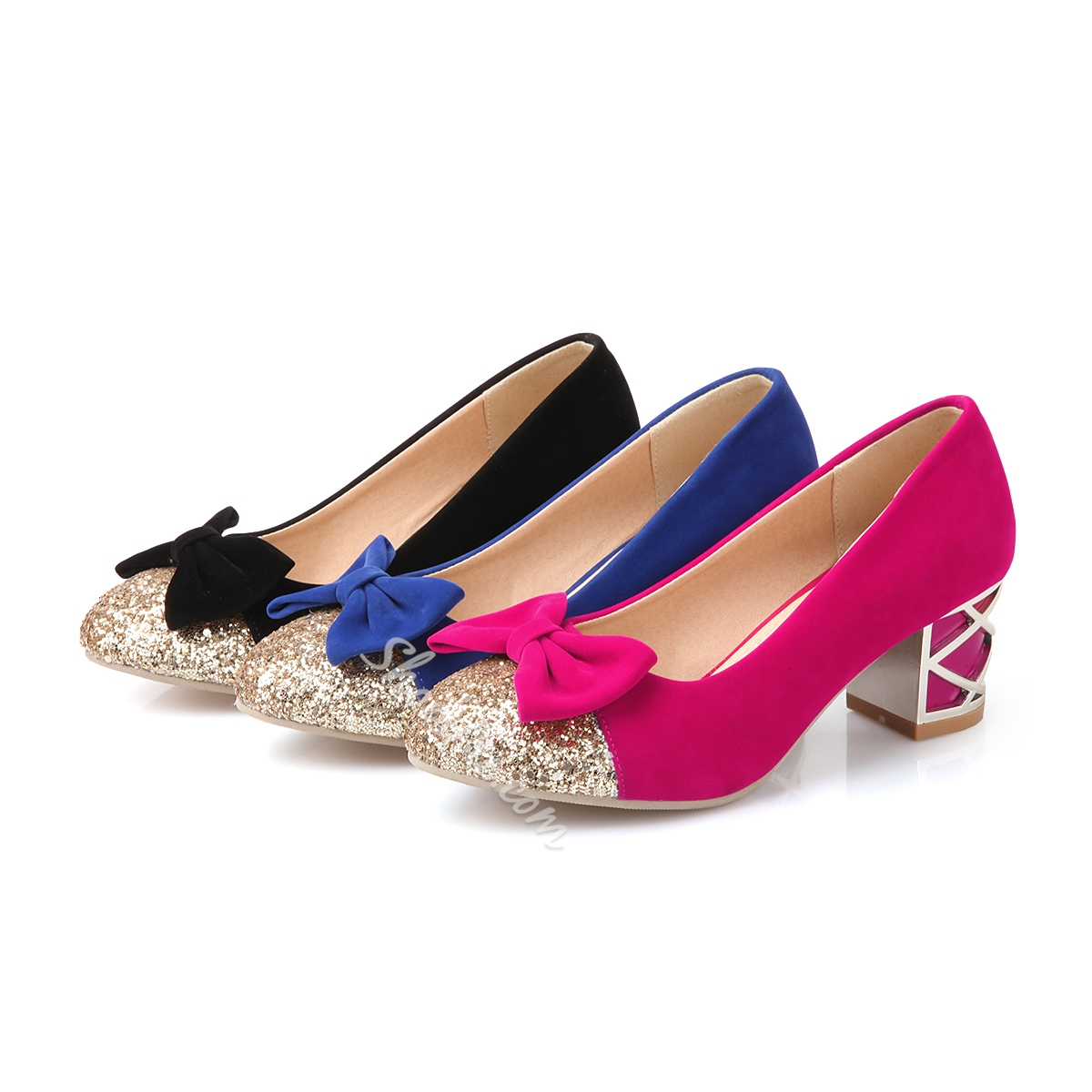 Shinning Contrast Color PU Bowknot Comfort Flats