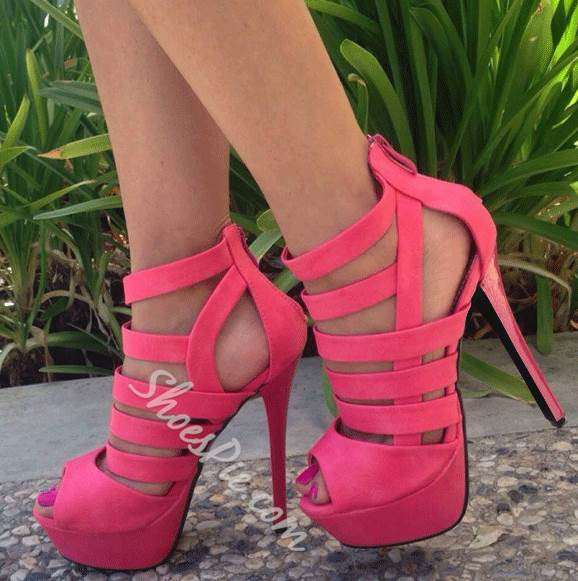 Dramatic Solid Color Stiletto Heel PU Dress Sandals