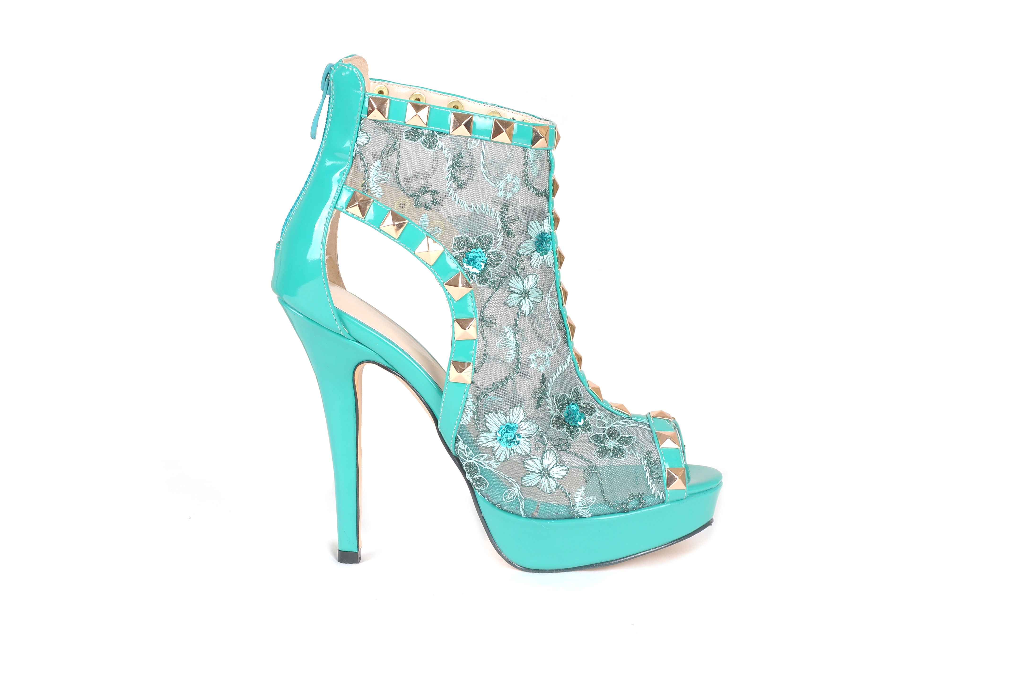 Large Size Blue Peep Toe Rivet Dress Sandals