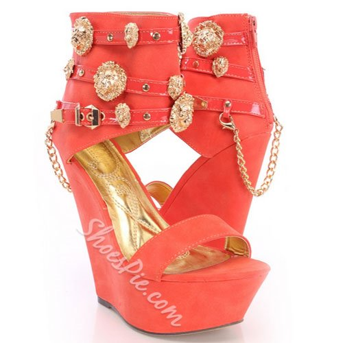Chic Metal Paillette Wedge Heel Sandals
