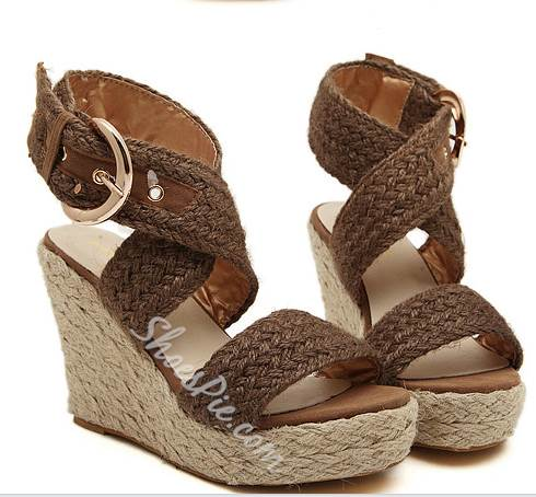 Brilliant Grass Rattan Weaving Wedge Sandals
