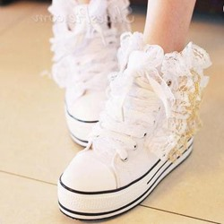 New Arrival Contrast Color Lace Canvas Shoes