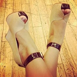 Ravishing Coppy Leather Ankle Strap Wedge Sandals