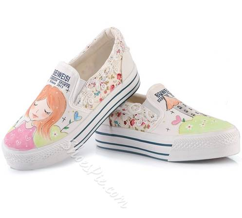 Stylish Hand-Printed Lace Canvas Shoes