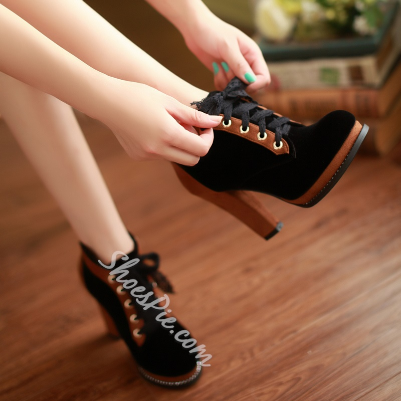 Comfortable Round-Toe Rivet Lace-Up Ankle Boots