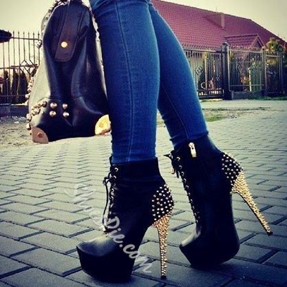 Sophisticated Black PU Rivets Lace-Up Ankle Boots