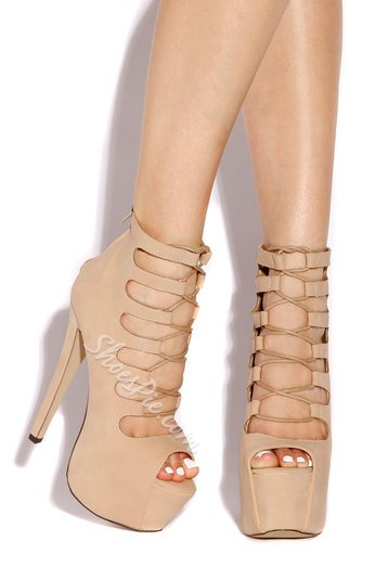 Sophisticated PU Cut-Outs Dress Sandals