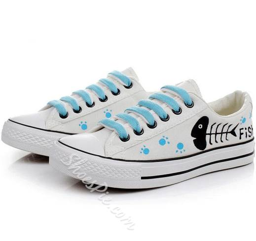Glamorous Hand-Printed Lace-Up Canvas Shoes