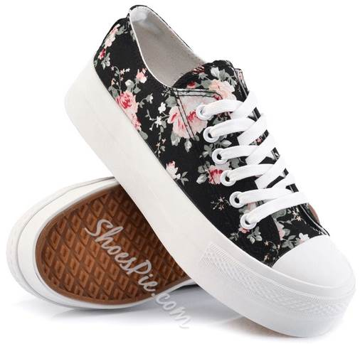 Prepossessing Flower Print Lace-Up Canvas Shoes