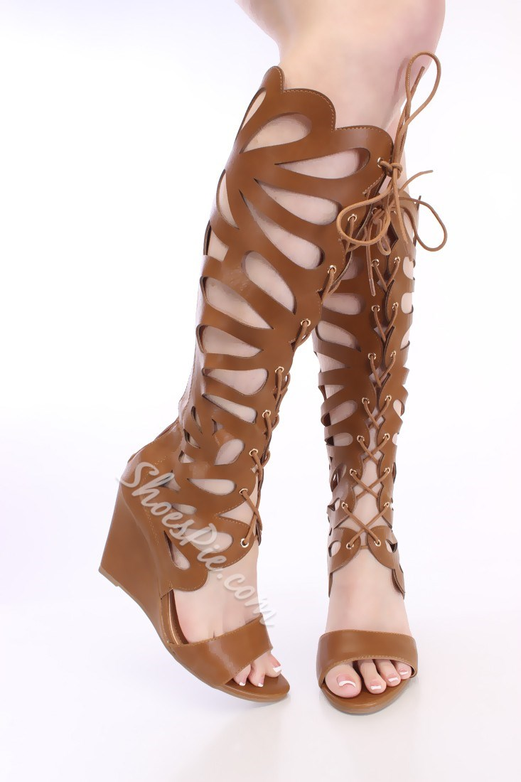 Remarkable Leopard Cut-Outs Lace-Up Wedge Sandals