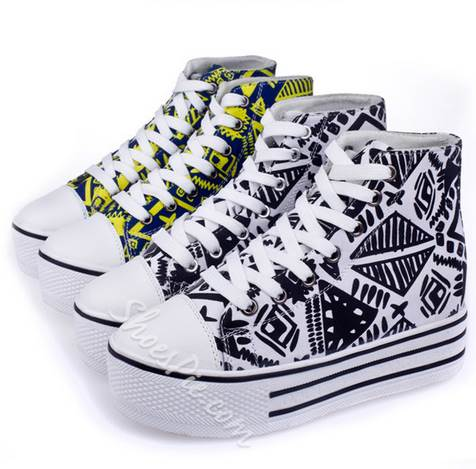 Prepossessing Contrast Color Graffiti Lace-Up High-Top Canvas Shoes