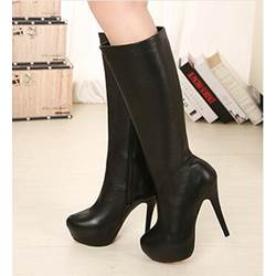 Concise Solid Color Suede Knee High Boots