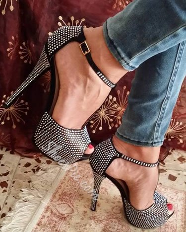 Perfect Black Cloth Rhinestone Platform Sandals