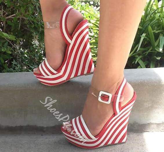 Fancy Red & White Stripes Wedge Sandals