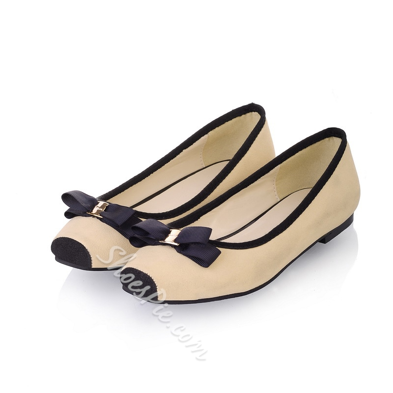 Comfortable Two-Tone Bowknot Closed-Toe Comfort Flats