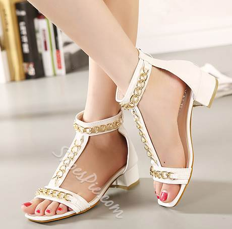 Remarkable Metal Chain PU Low Heel Sandals