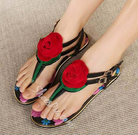 Bohemian Style Sweet Rose Ankle Strap Flat Sandals