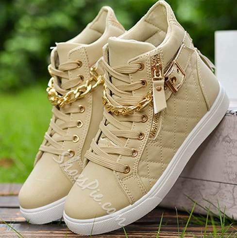 Magnificent Lace-Up Metal Buckle Zipper High-Top Canvas Shoes