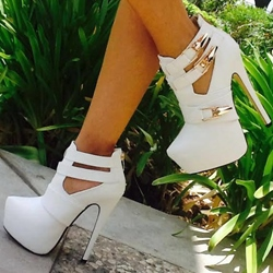 Your Love Cut-Outs Metal White Ankle Boots