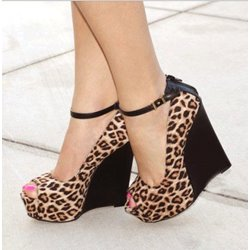 Sexy Beautiful Women's Leopard Grain Wedge Sandals