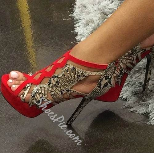 Hot Girl Cut-Outs Snakeskin Stiletto Dress Sandals