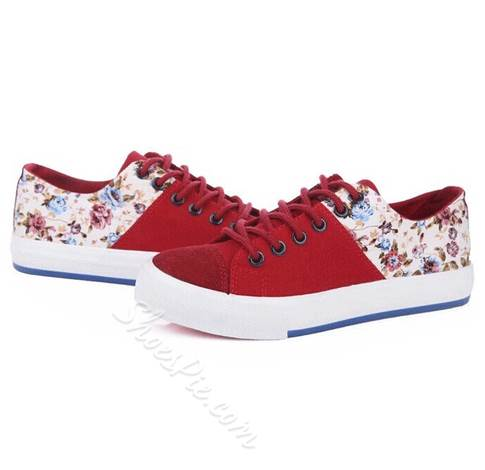 Artistic Flower Print Lace-Up Canvas Shoes