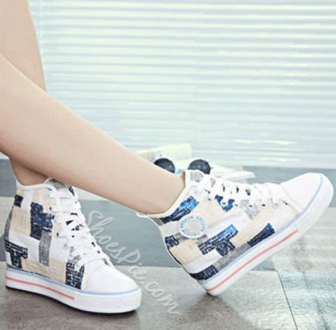 Comfortable Contrast Color Sequin Canvas Shoes With Inside Heel