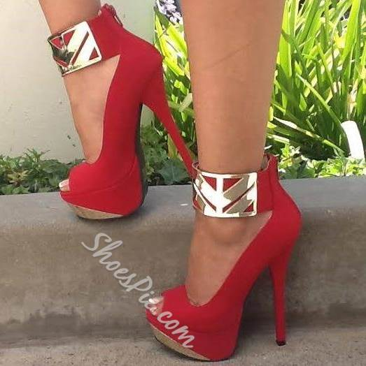 Absorbing Party Wearing Ankle Wrap Peep-Toe Platform Heels