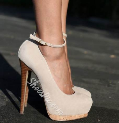 Concise OL Style Ankle Strap Platform Heels