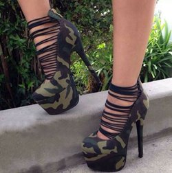 Shoespie New Fashion Camouflage Cut-Outs Platform Heels