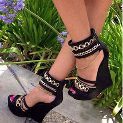 Shoespie Comfortable Ankle Strap Metal Chain Wedge Sandals