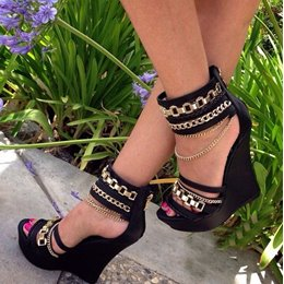 Comfortable Ankle Strap Metal Chain Wedge Sandals