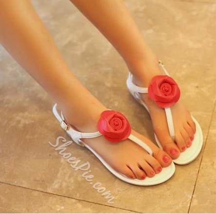 Lovely Flower Ankle Strap Flat Sandals