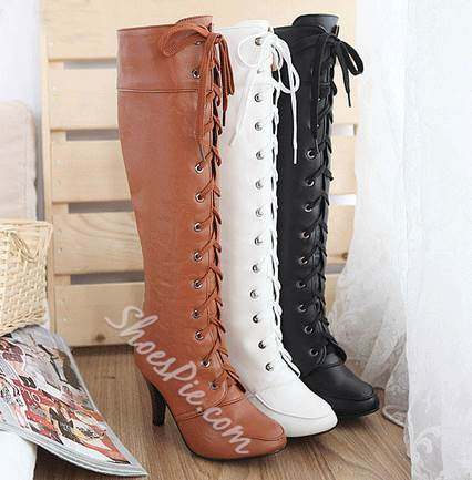 Retro Solid Color Lace-Up Knee High Boots