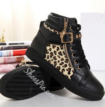 Cool Leopard Print Rivets Sneakers