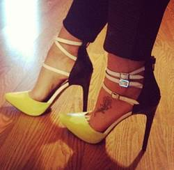 Sexy Girl Contrast Color Ankle Straps Stiletto Heels