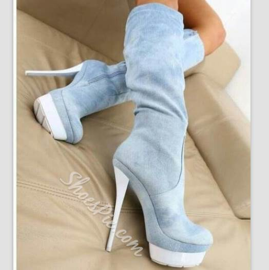 Simple Solid Color High Heels Boots