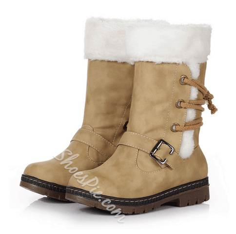 Comfortable Lace-Up Buckle Snow Boots