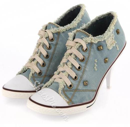 Casual Wearing Rivets Lace-Up Low Heels