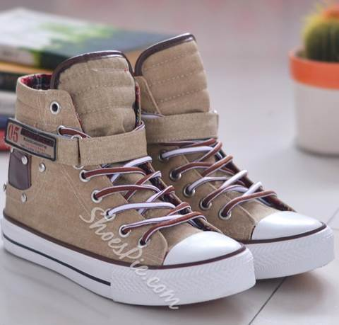 Absorbing Lace-Up High-Top Canvas Shoes