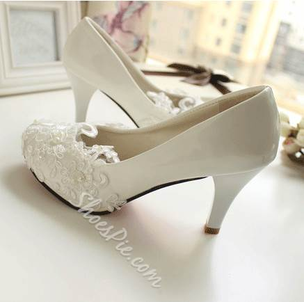 Elagant Lace Flower High Heel Bridal Shoes